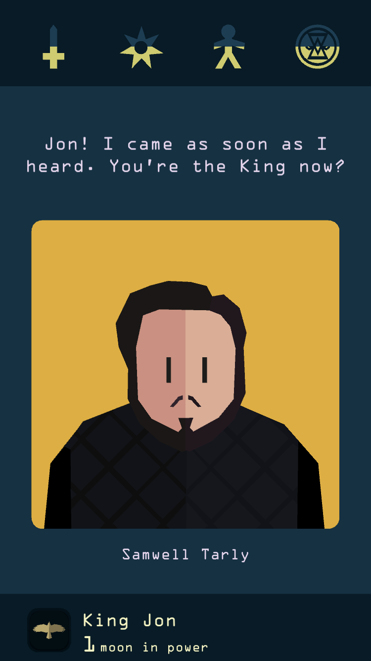 Reigns: Game of Thrones iOS-skärmdump - Samwell Tarly