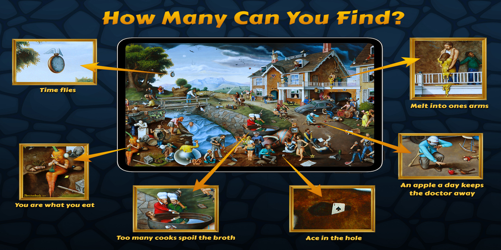 Proverbidioms is a hidden object game where you hunt for well-known phrases in paintings